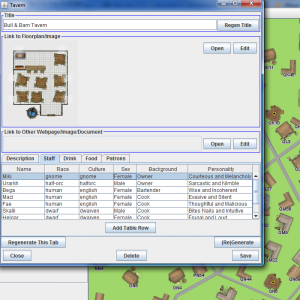 "Clicking ""View/Add/Edit note"" in the left sidebar allows you to select buildings. Click one and a dialog opens with the building's details. Inns have floorplans, some staff/patron details, and menus. All these details are editable."